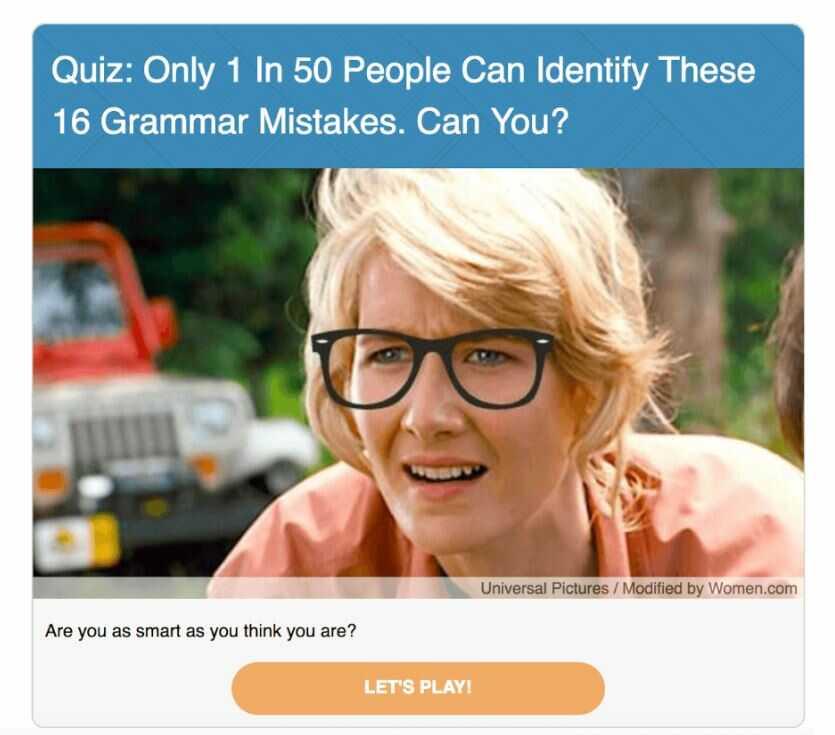 interactive quiz - viral content