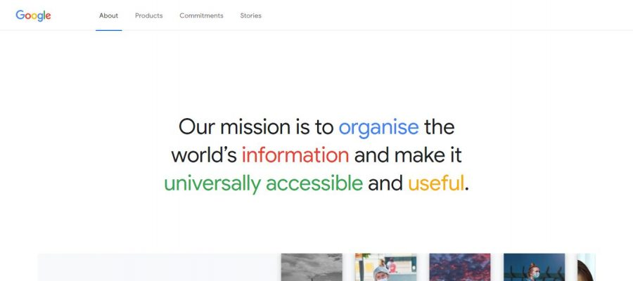 Google's about us page