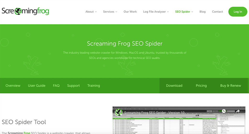 Content audit report by screamingfrog