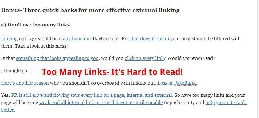 Too many external links
