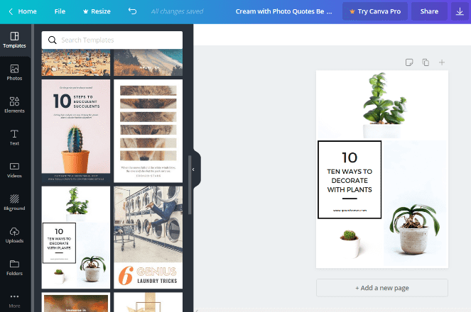Canva graphic design tool