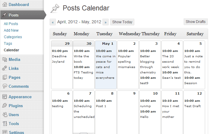 Editorial Calendar plugin for content writers