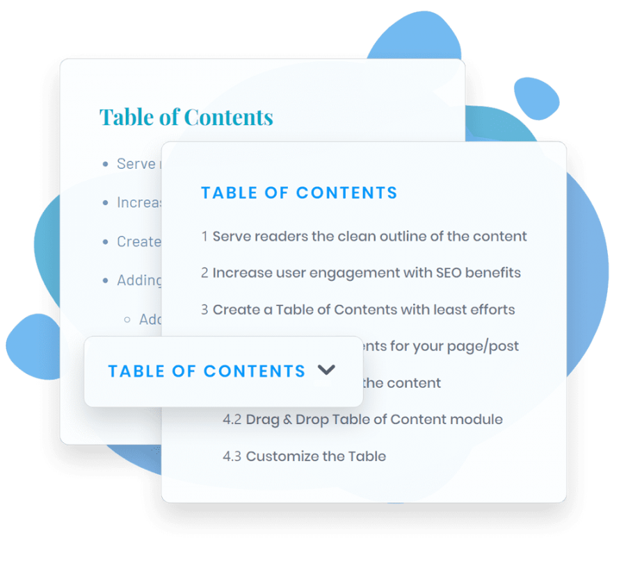 Table of Contents plugin for writing