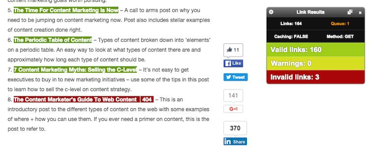 Check My Links extension scanning a webpage to find broken links - Writing Chrome Extensions