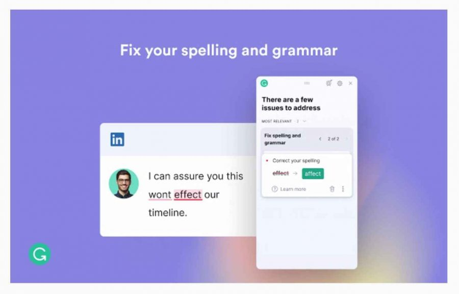 Grammarly suggesting spelling and grammatical errors in a sentence - Writing Chrome Extensions.
