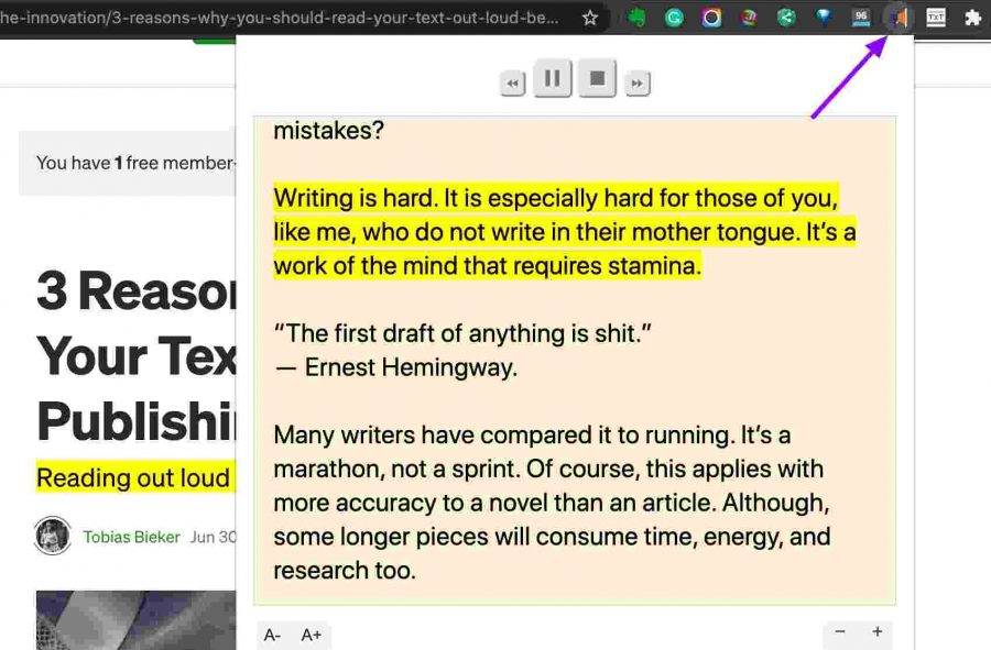 Read Aloud extension converting text into speech - Writing Extensions For Chrome