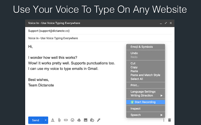 Converting the speech to text in an email using Voice In - Writing Extensions For Chrome