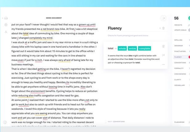 Spelling and grammar check from Grammarly - ebook writing