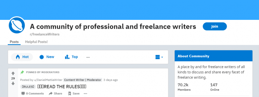 A community of professional and freelance writers- writing group